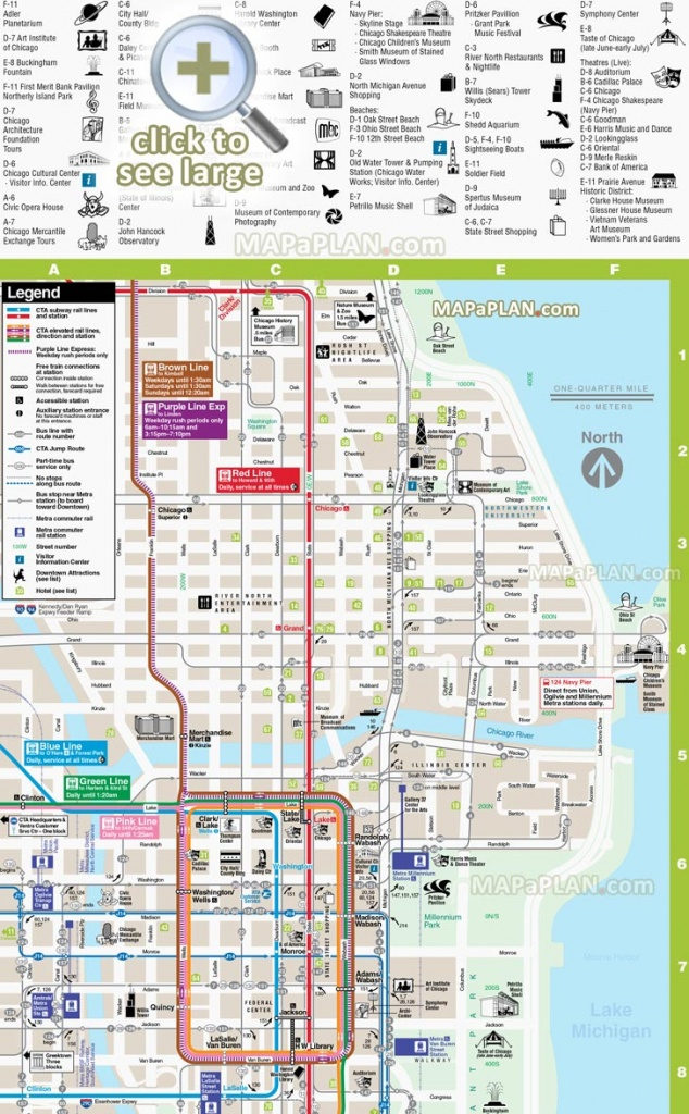 Chicago Maps - Top Tourist Attractions - Free, Printable City Street Map - Chicago Loop Map Printable
