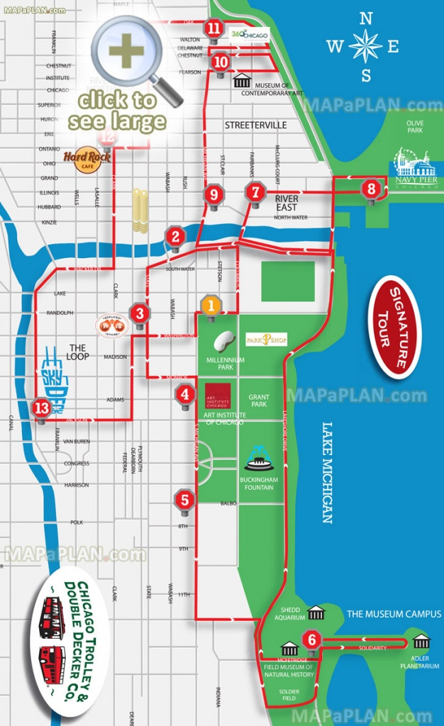 Chicago Maps - Top Tourist Attractions - Free, Printable City Street - Printable Map Of Downtown Chicago Attractions