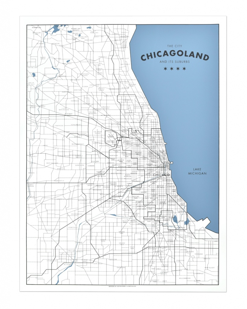 "Chicagoland - A Map Of Chicago And Its Suburbs 18"" X 24"" Screen Print - Printable Map Of Chicago Suburbs"