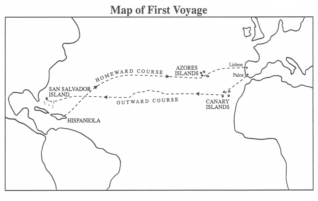 Christopher Columbus First Voyage   Chapter 5: First Voyage To The - Printable Map Of Christopher Columbus Voyages