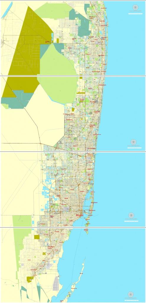 City Map Miami Vector Urban Plan Adobe Illustrator Editable Street Map - Street Map Of Miami Florida