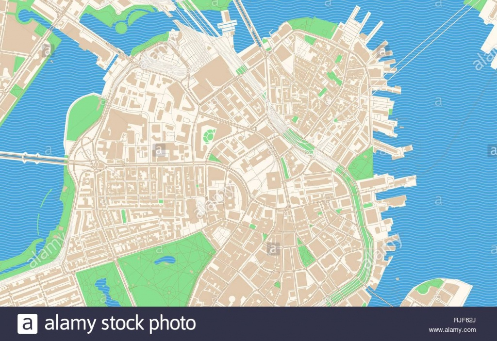 City Of Boston Map Stock Photos & City Of Boston Map Stock Images - Printable Map Of Boston