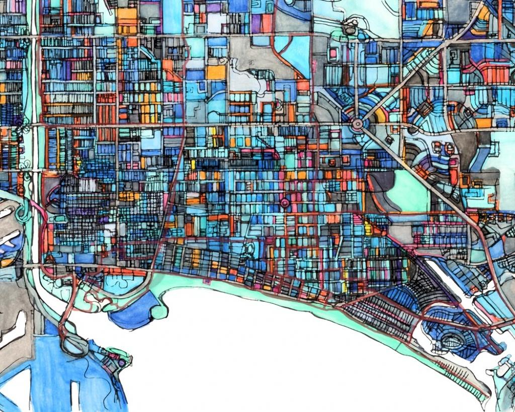 City Travel Print –City Neighborhood Print Of Long Beach Ca - Printable Map Of Long Beach Ca