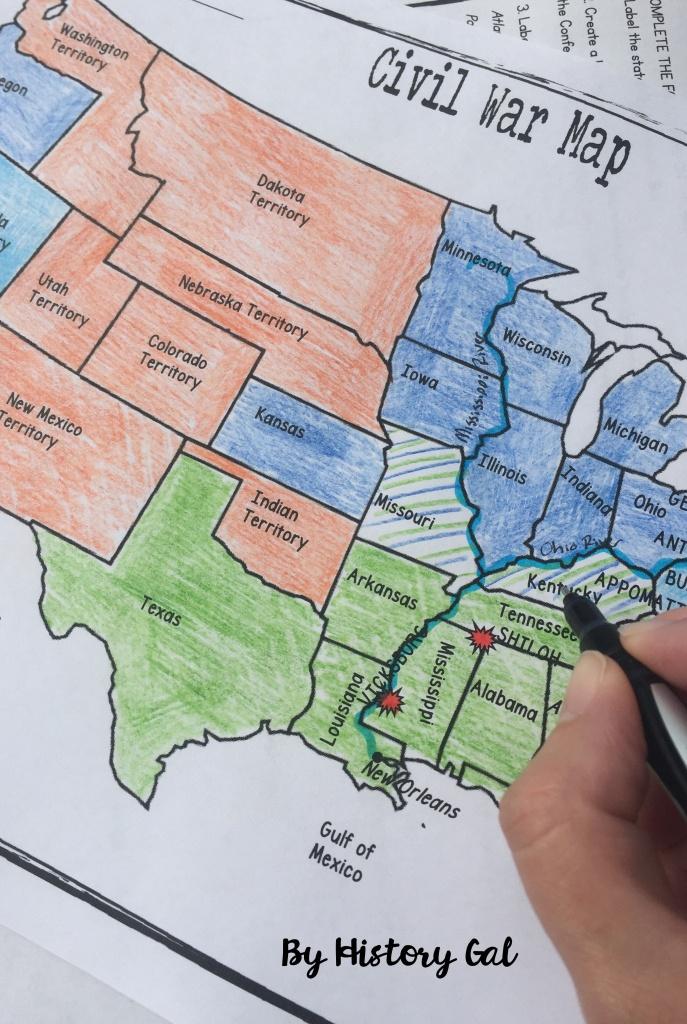 Civil War Map Activity   History Teacher   Map Activities, History - Printable Civil War Map