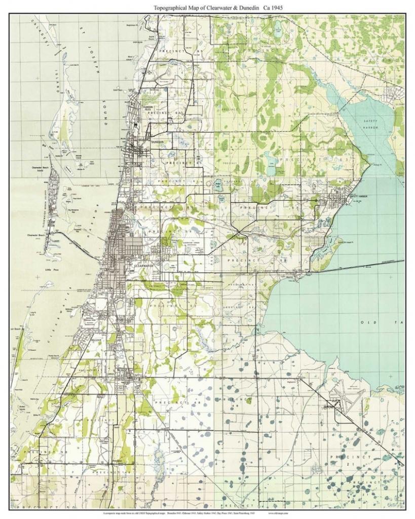 Clearwater & Dunedin Florida 1943 Old Topo Map A Composite | Etsy - Google Maps Dunedin Florida