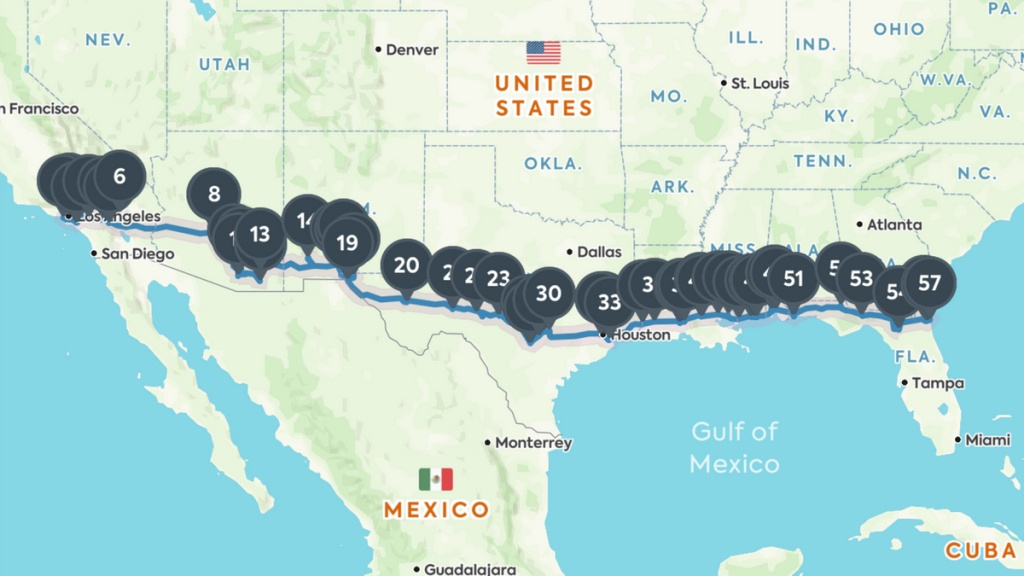 Coast To Coast Road Trip: The Best Of Everything Along I-10 - Florida Road Trip Trip Planner Map