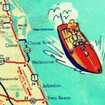 Cocoa Beach Wall Art Vintage Map Print Cocoa Beach Fl Gifts | Etsy   Cocoa Beach Florida Map