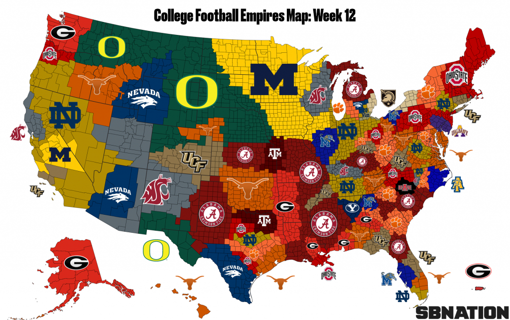 College Football Empires Map: Texas Is Suddenly Top 5 - Sbnation - Texas Land Map