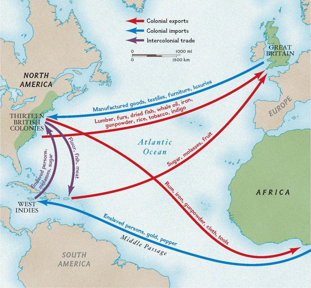 Colonial Trade Routes And Goods | National Geographic Society - Triangular Trade Map Printable