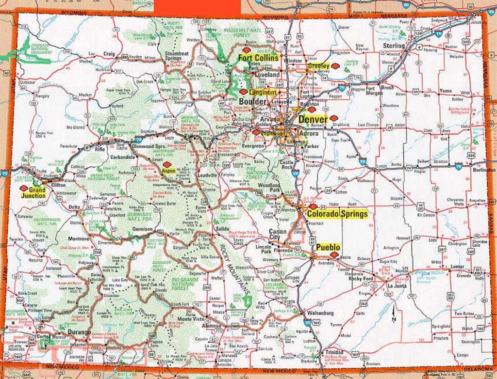 Colorado Map | Frida | Map, Colorado, State Map - Printable Map Of Colorado Springs