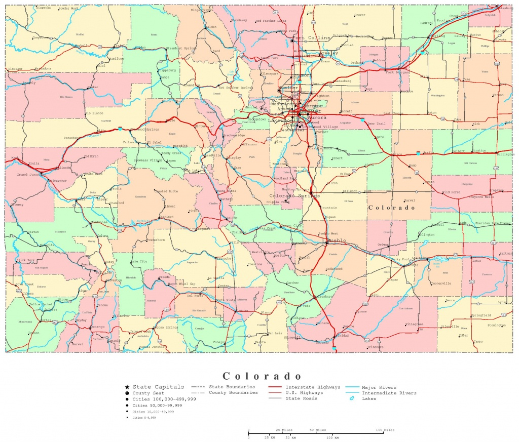 Colorado Printable Map - Printable Road Map Of Colorado