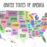 Colored Poster Map Of United States Of America With State Names   Printable Map Of The United States With State Names