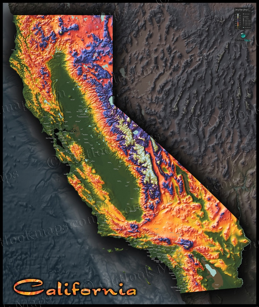 Colorful California Map   Topographical Physical Landscape - California Terrain Map