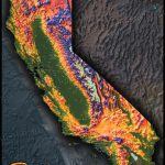 Colorful California Map | Topographical Physical Landscape   California Topographic Map Elevations