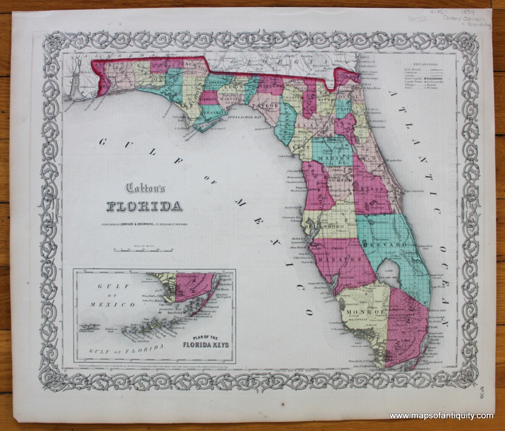 Colton's Florida *****sold***** - Antique Maps And Charts – Original - Florida Maps For Sale