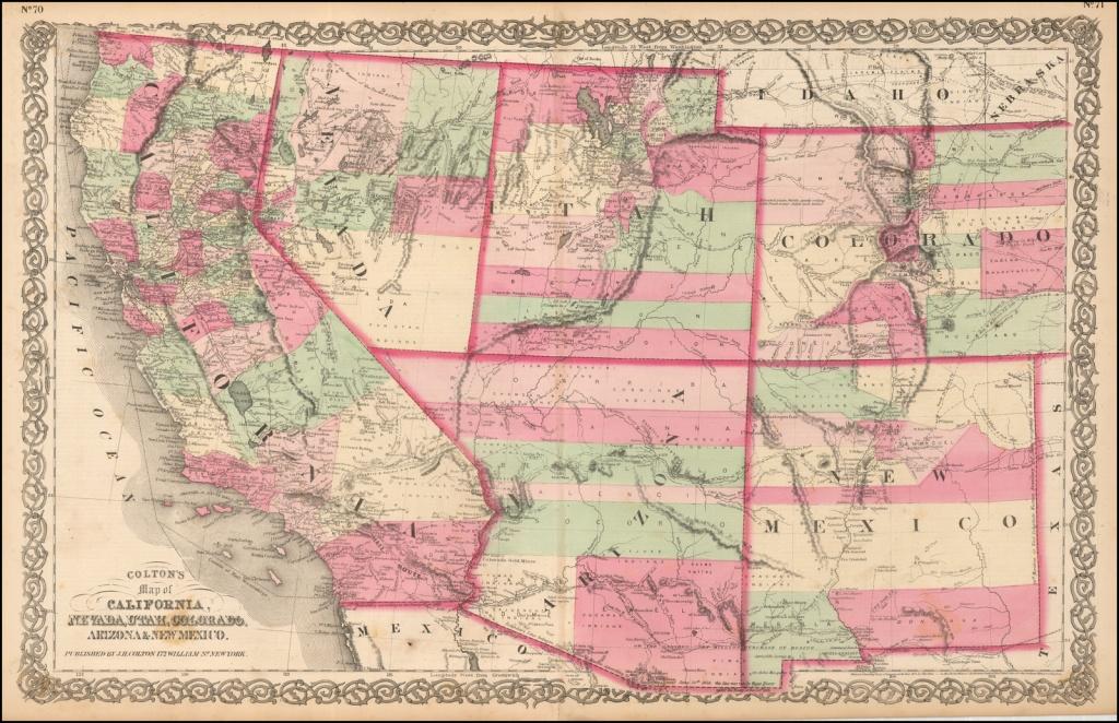 Colton's Map Of California, Nevada, Utah, Colorado, Arizona & New - California Nevada Map