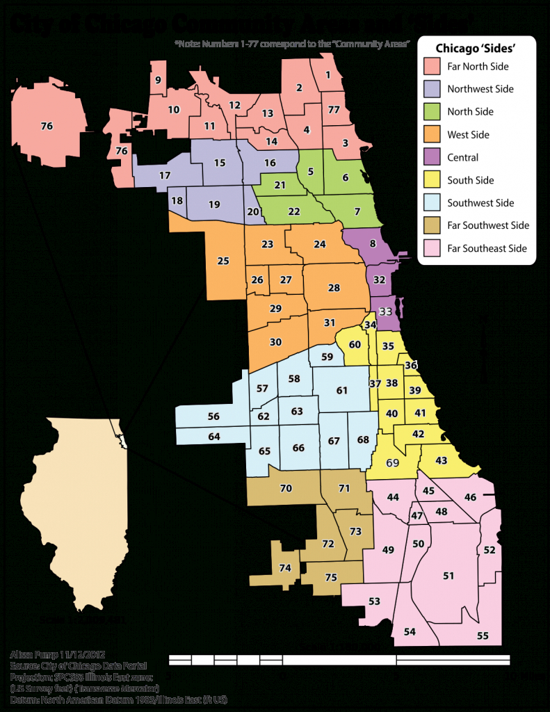 Community Areas In Chicago - Wikipedia - Chicago Zip Code Map Printable