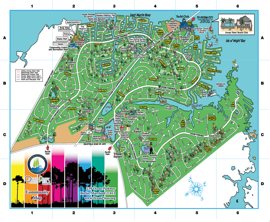 Community Map | Ocean Pines Association | Md - Printable Street Map Ocean City Nj