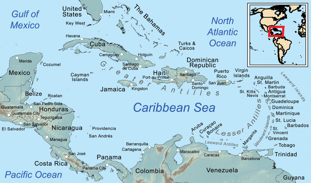 Comprehensive Map Of The Caribbean Sea And Islands - Maps Of Caribbean Islands Printable