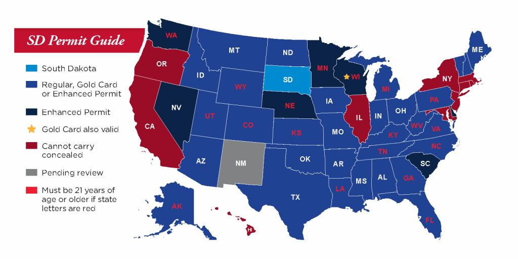 Concealed Pistol Permits: South Dakota Secretary Of State - Texas Chl Reciprocity Map 2018