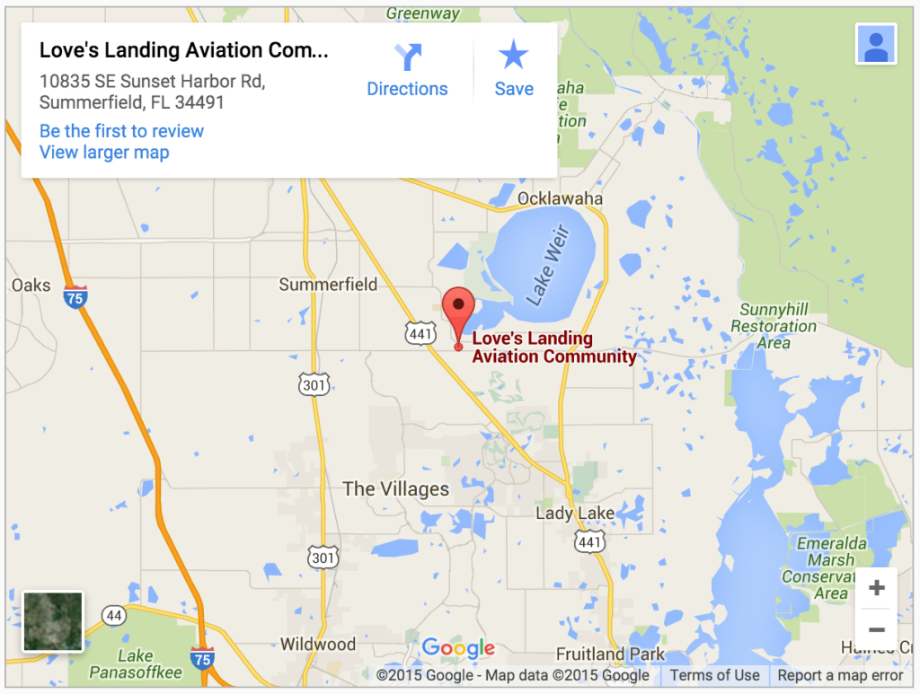 Contact Us | Love's Landing - Gated Airpark Community In Weirsdale, Fl - Florida Airparks Map
