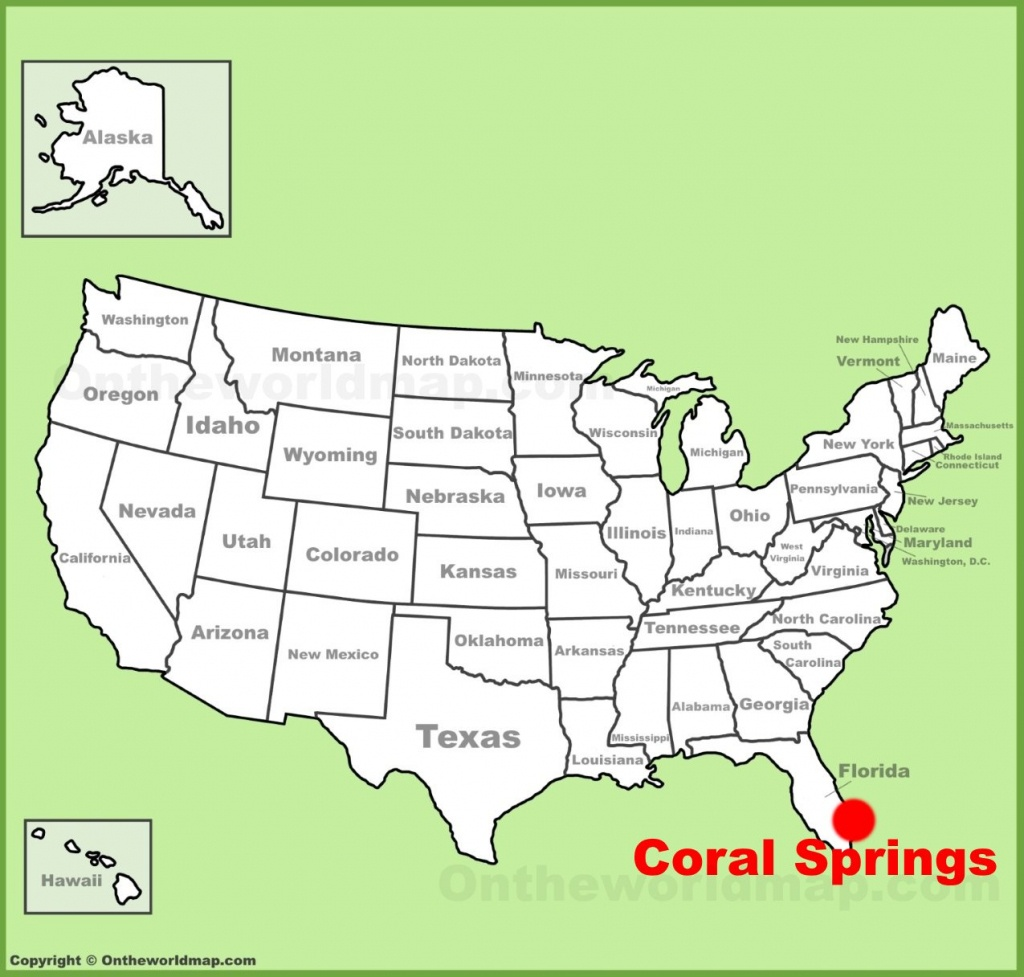 Coral Springs Location On The U.s. Map - Map Of Florida Showing Coral Springs