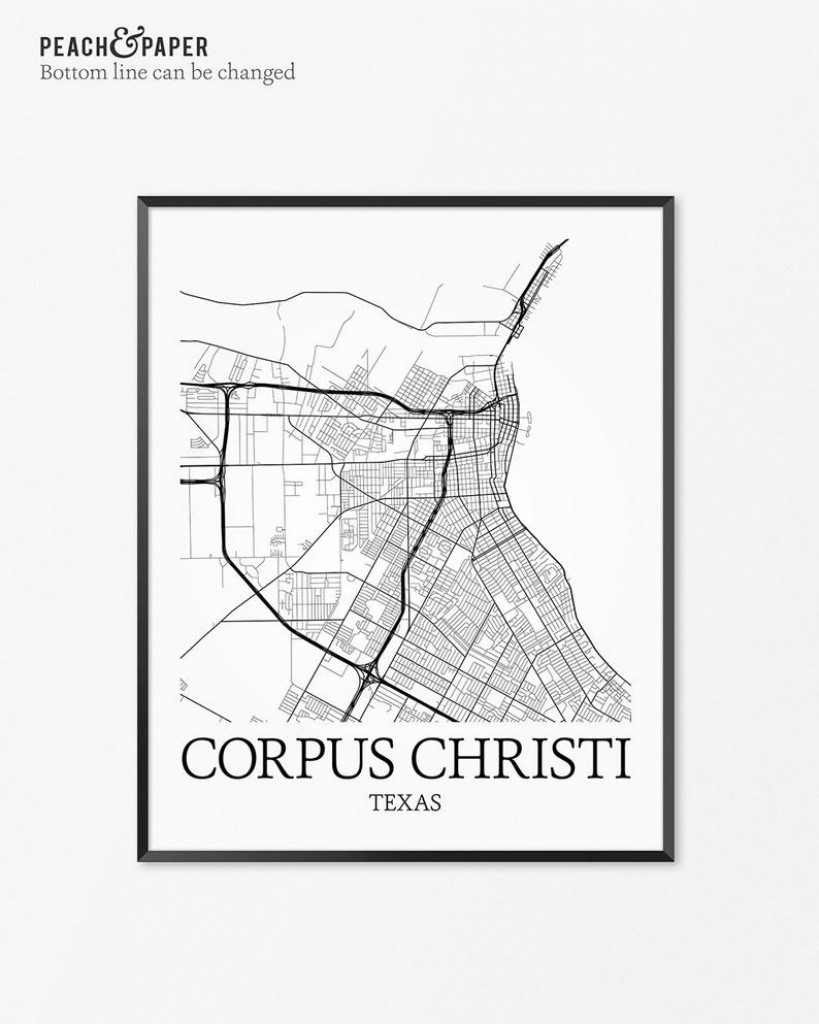 Corpus Christi Map Art Print Corpus Christi Poster Map Of   Etsy - City Map Of Corpus Christi Texas