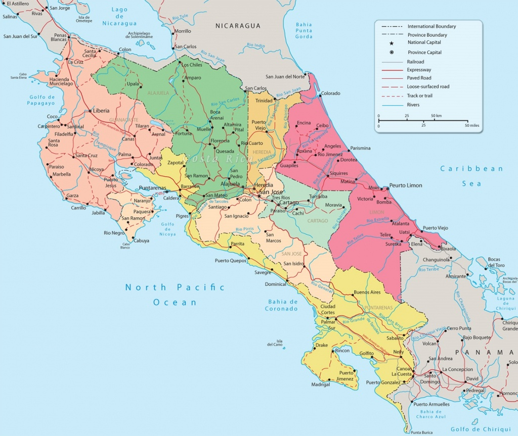 Costa Rica Political Map - Printable Map Of Costa Rica