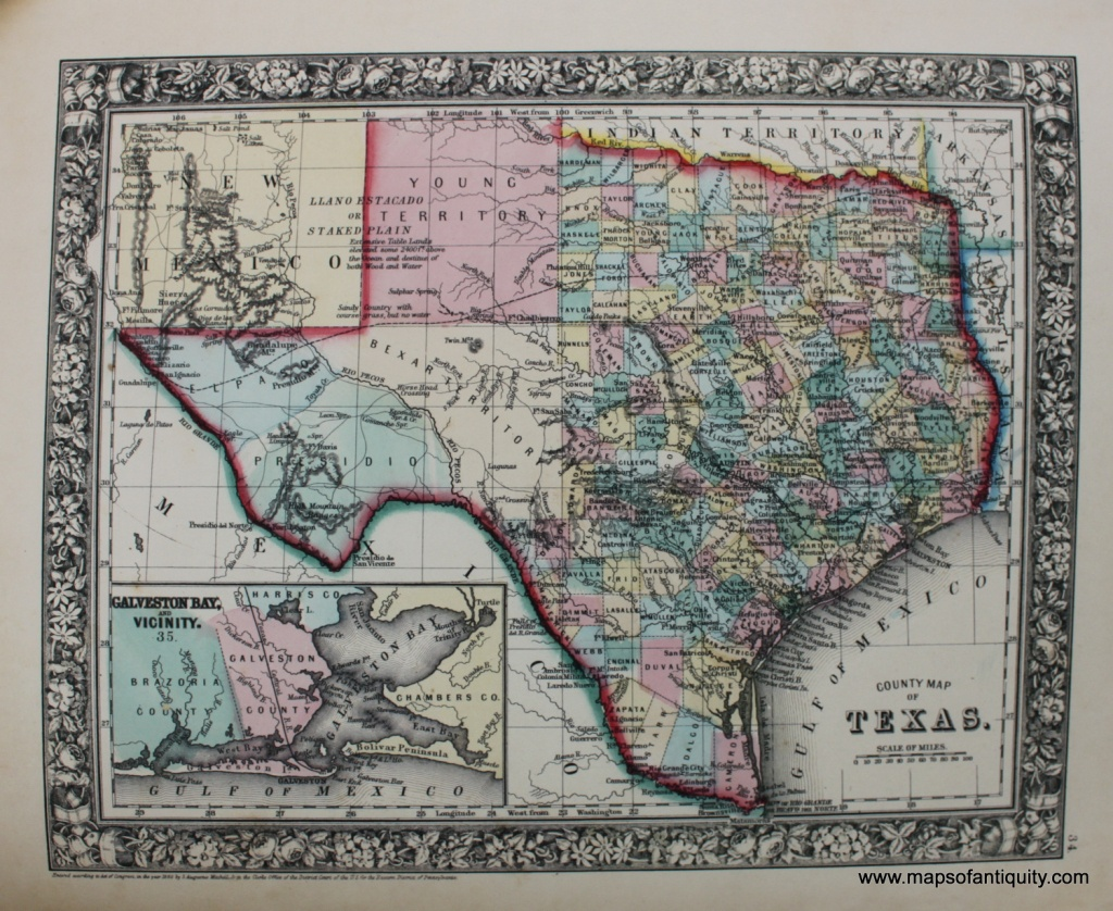 County Map Of Texas - Reproduction - Antique Maps And Charts - Antique Texas Map Reproductions