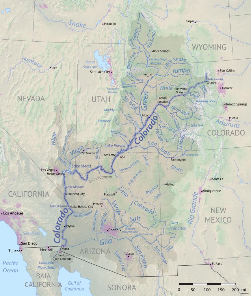 Course Of The Colorado River - Wikipedia - Colorado River Map Texas