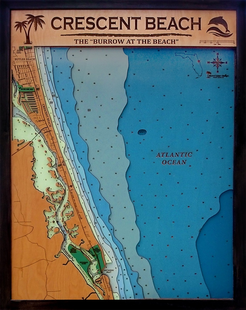 Crescent Beach Xtra-Large 50″ X 32″ | Island Laser Design - Map Of Crescent Beach Florida