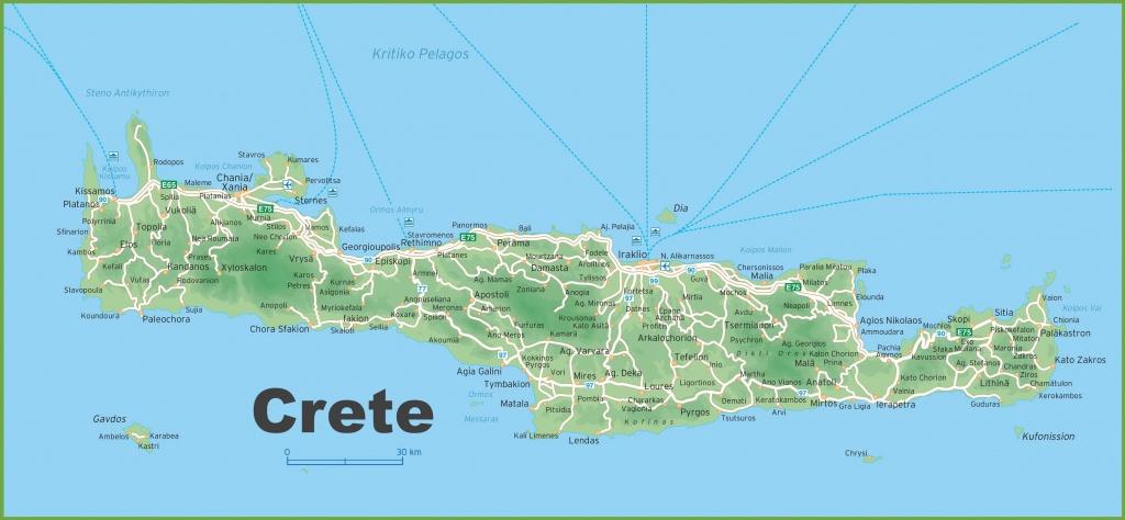 Crete Road Map - Printable Map Of Crete
