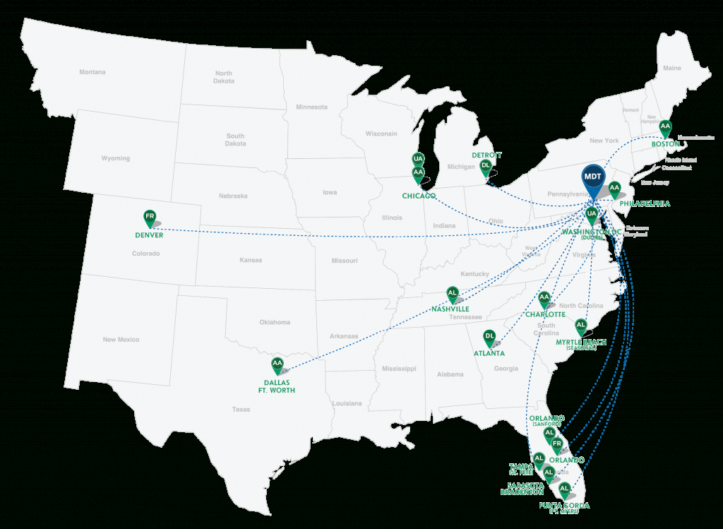 Current Nonstop Destinations From Hia | Harrisburg International Airport - Florida Airports Map