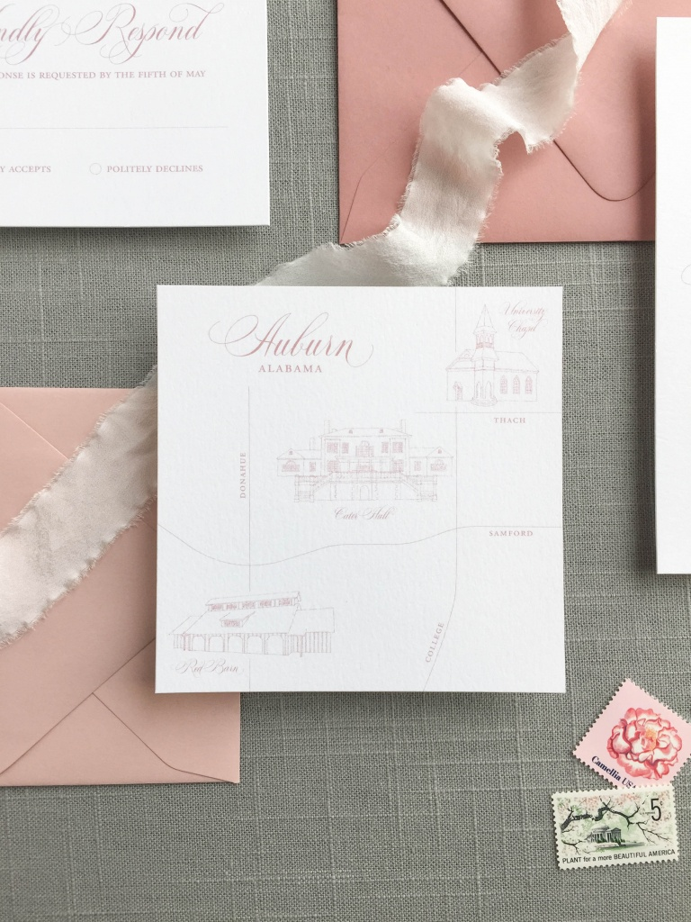 Custom Invitations | Little Fox Paperie | Custom Wedding Stationery - How To Create A Printable Map For A Wedding Invitation
