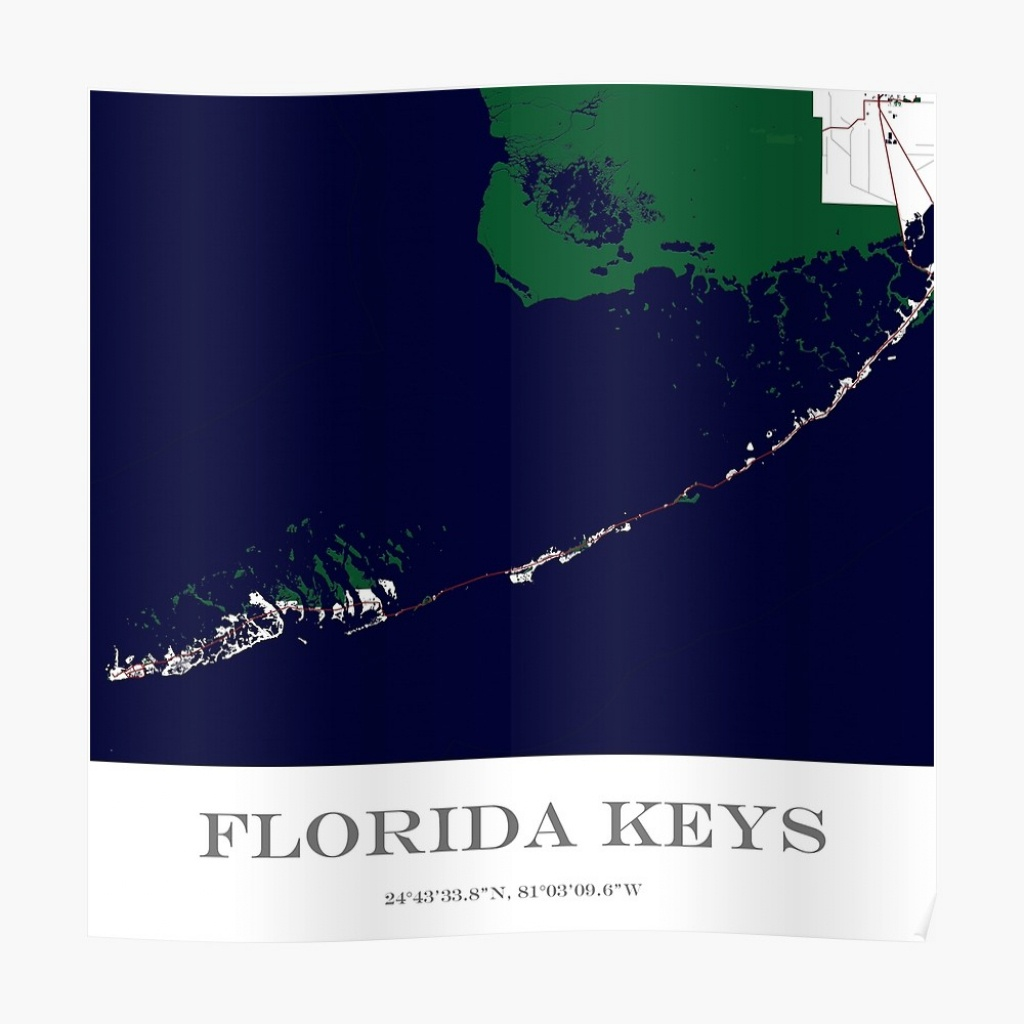 "Custom Map Of The Florida Keys"" Posteraocimages 