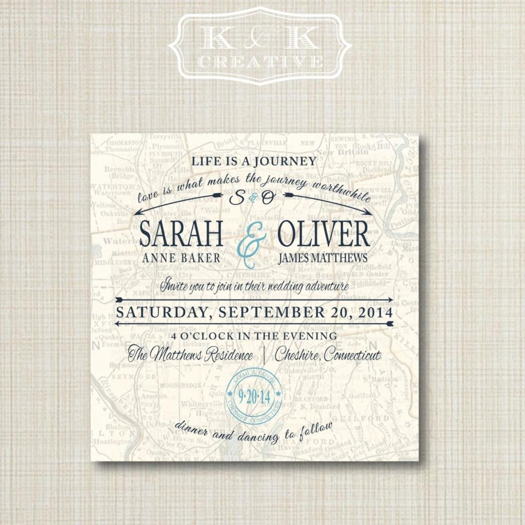 Custom Map Printable Wedding Invitation 5X5Kandkcreative, $20.00 - Maps For Wedding Invitations Free Printable