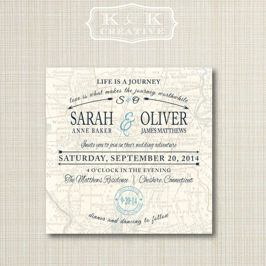 Custom Map Printable Wedding Invitation 5X5Kandkcreative, $20.00 - Printable Maps For Wedding Invitations Free