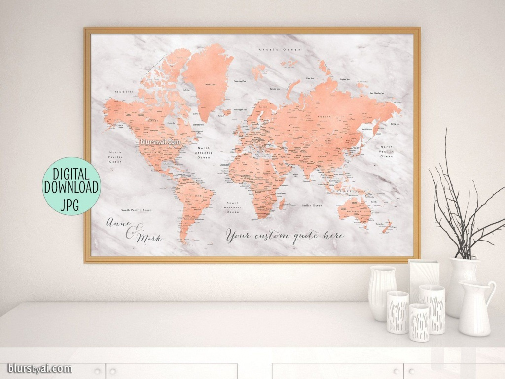 Custom Printable World Map With Cities, Capitals, Countries, Us - Custom Printable Maps
