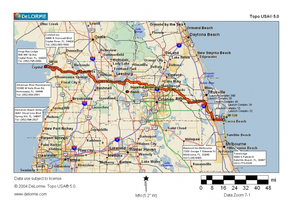 Cycling Routes Crossing Florida - Cocoa Beach Florida Map