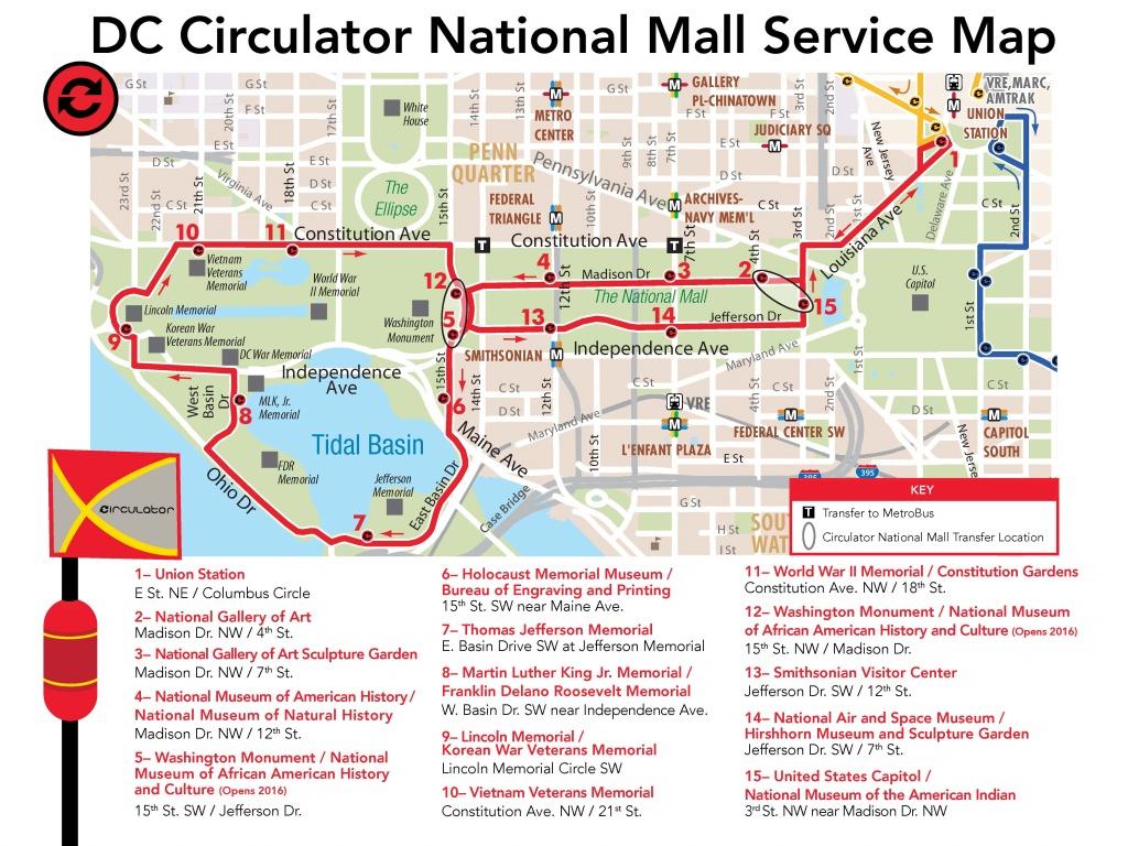 D.c. Circulator National Mall Route - Printable Map Of The National Mall Washington Dc