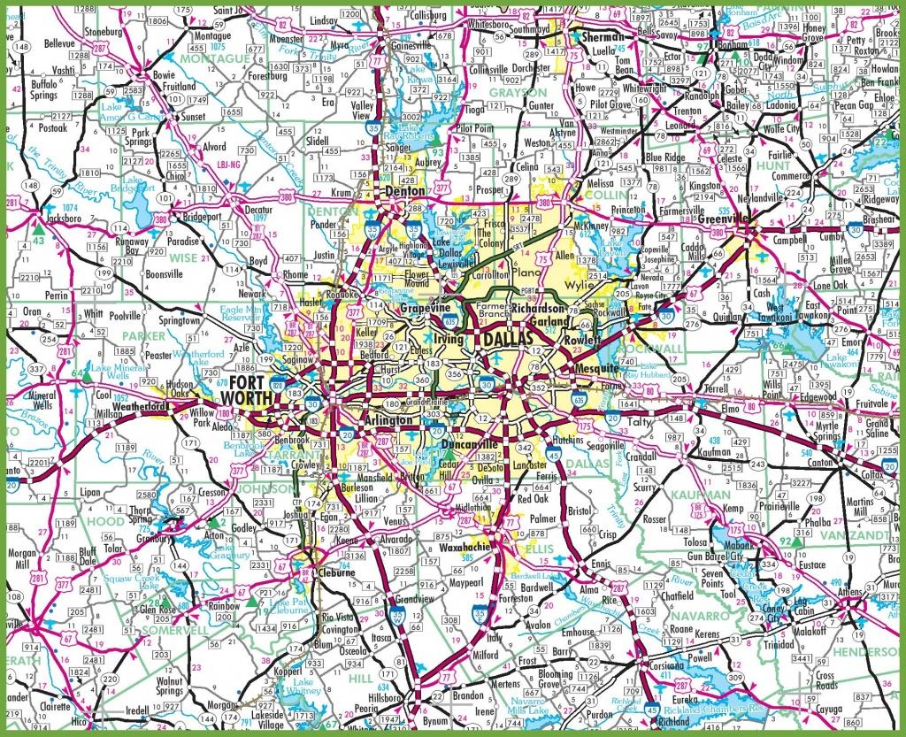 Dallas Area Road Map - Printable Map Of Dallas