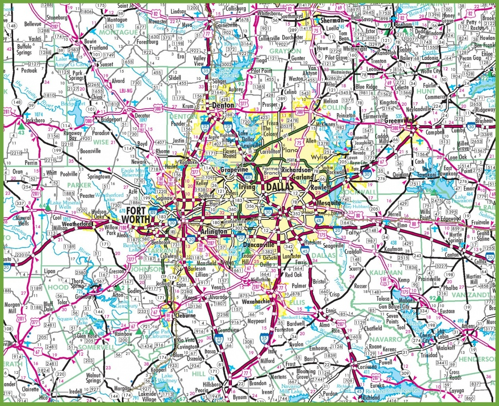 Dallas Area Road Map - Printable Map Of Dfw Metroplex