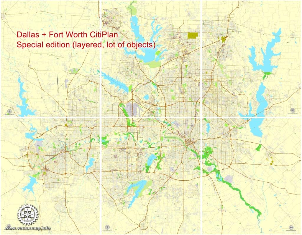 Dallas + Fort Worth Tx Pdf Map, Us, Exact Vector Street Cityplan Map - Printable Map Of Dfw Metroplex