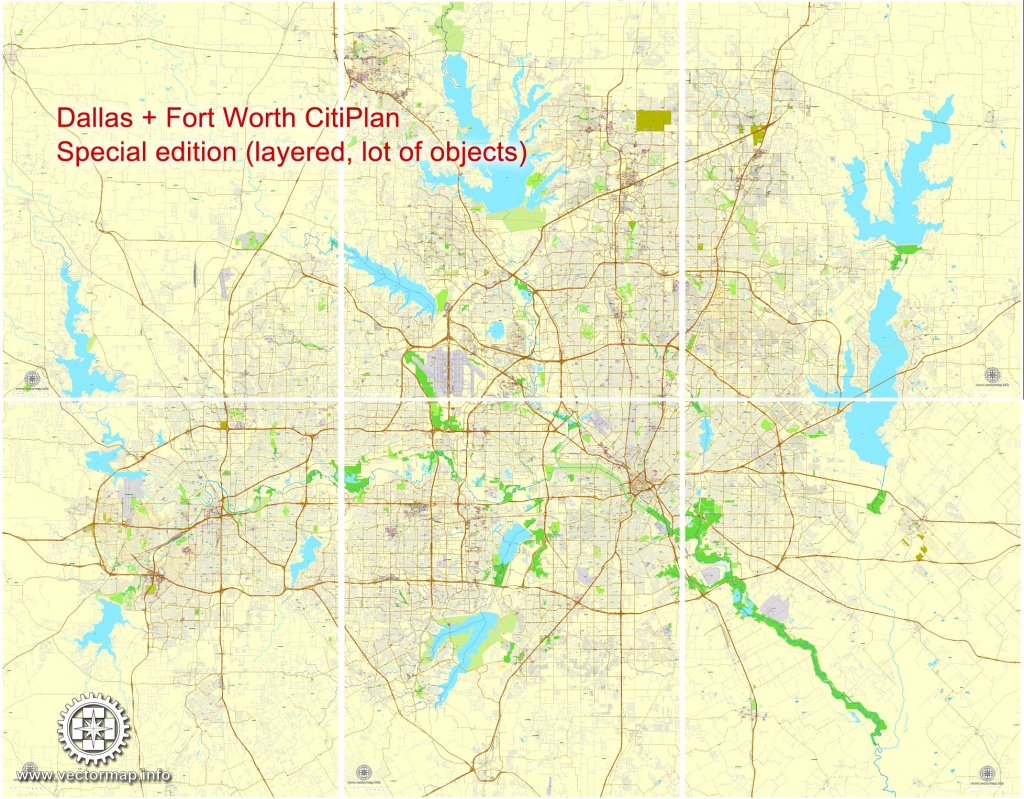 Dallas + Fort Worth Tx Pdf Map, Us, Exact Vector Street Cityplan Map - Street Map Of Dallas Texas