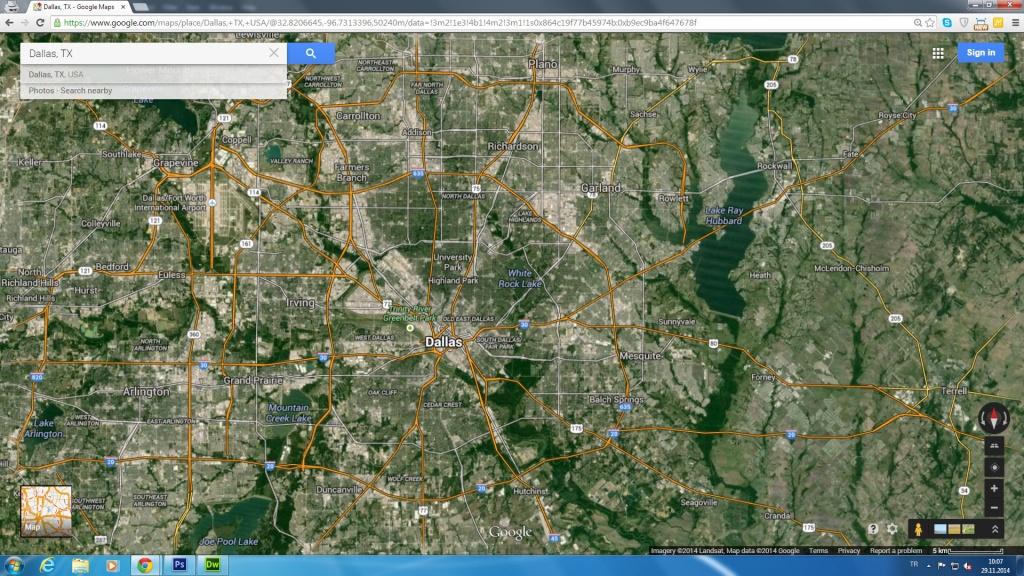 Dallas, Texas Map - Google Maps Dallas Texas Usa