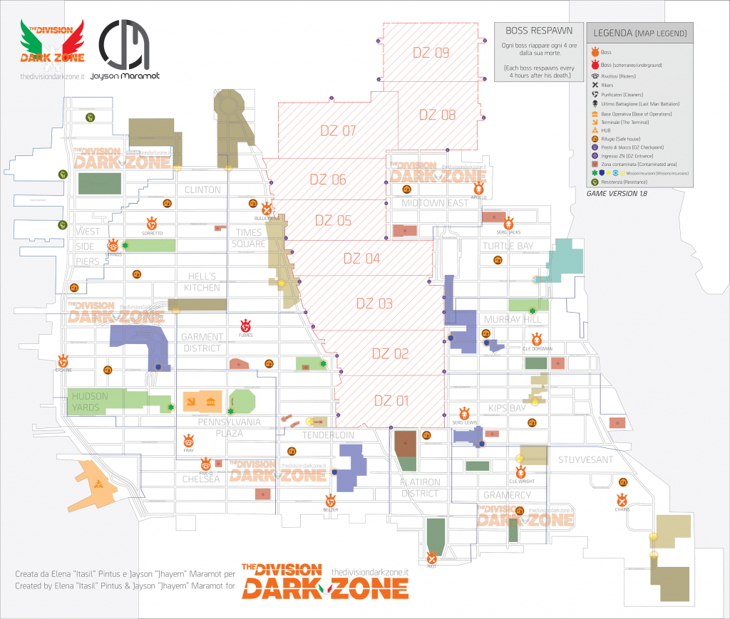 Dark Zone And Pve Boss Maps (Updated)The Division Dark Zone - The Division Printable Map