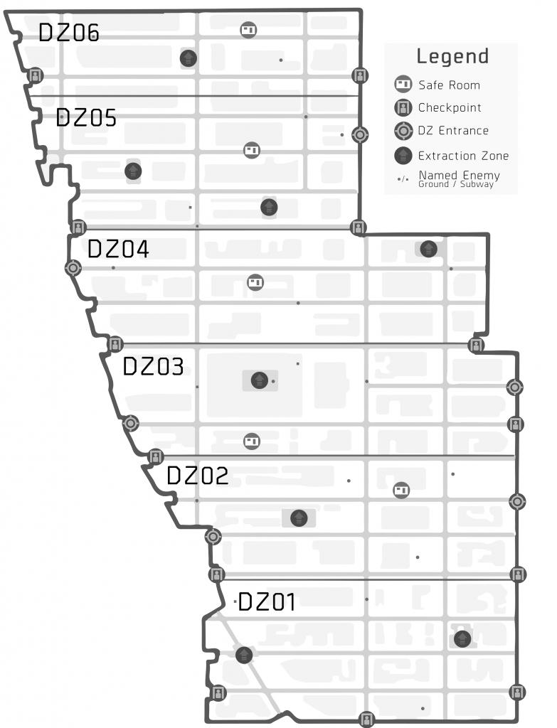 Dark Zone Map (Printer-Friendly) V2 : Thedivision - The Division Printable Map