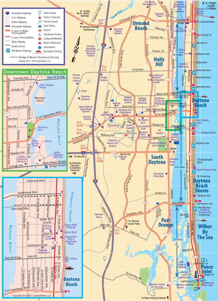 Daytona Beach Area Attractions Map   Things To Do In Daytona - Florida Map Hotels