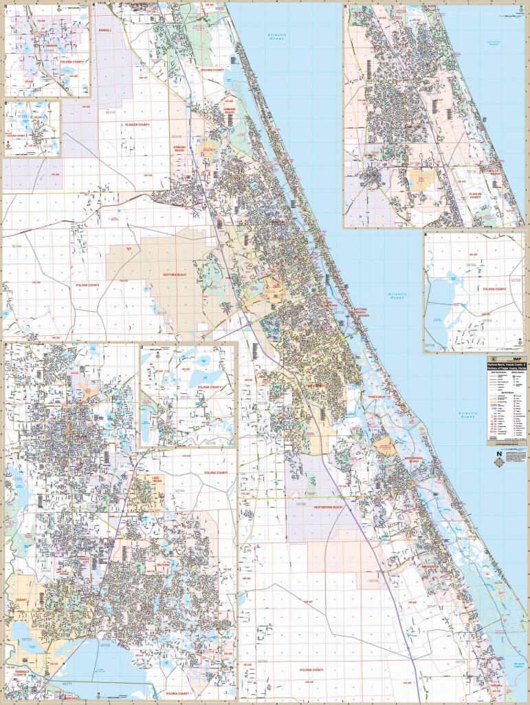 Daytona Beach, Fl Wall Map – Kappa Map Group - Map Of Daytona Beach Florida Area