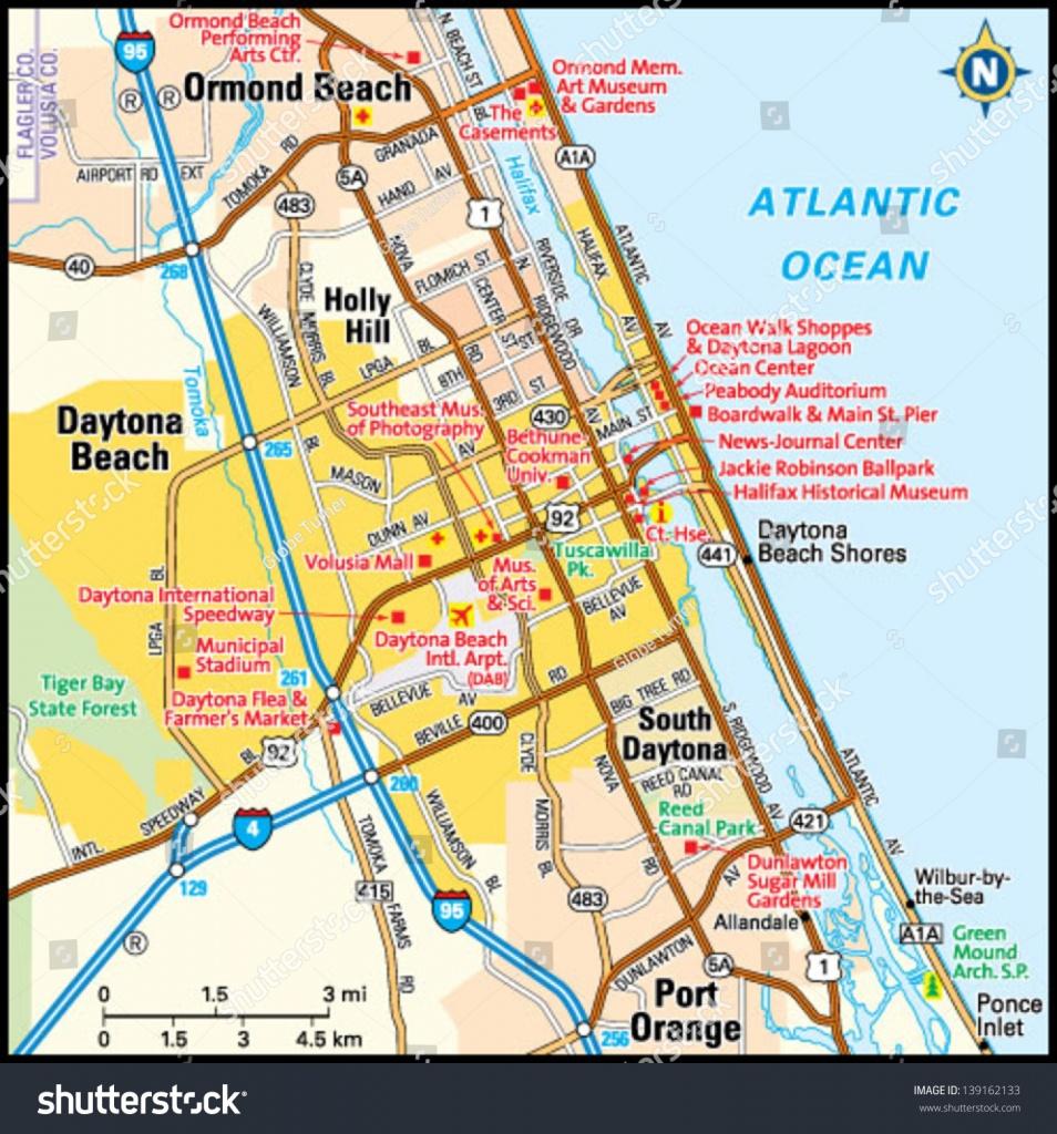 Daytona Beach, Florida Area Map Stock Photo 139162133 - Avopix - Map Of Daytona Beach Florida Area